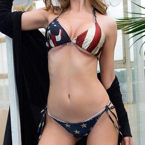 Trajes de la bandera americana Bikinis escenógrafo Bikini Mujeres Ropa de natación En Stock traje de baño atractivo del vendaje de baño trajes de baño