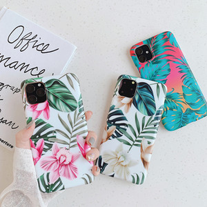 Fashion Retro Flower Leaf Strech IMD Soft TPU Case For iPhone 12 11 Pro Max XR XS X 8 7 6 6S Plus Huawei P20 P30 P40 Pro Mate 20 Lite