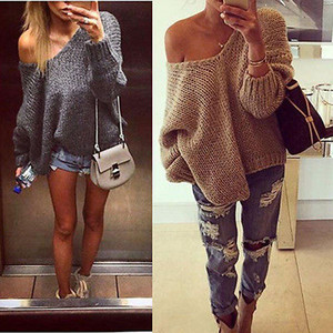 Fashion Ladies Womens Long Sleeve Baggy Knitted Jumper Chunky Sweater