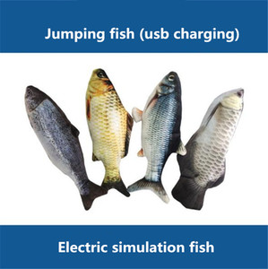 Hot sale 28cm8 types of electric toys funny cat simulation can jump fish toy usb charging jump fish