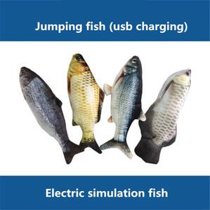 뜨거운 판매 28cm8 종류의 전기 장난감을 재미있는 고양이 시뮬레이션 점프 할 수있는 물고기 장난감 usb 충전 뛰어 물고기
