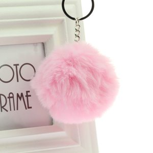 Key Chain Fur ball cute keychain Keychain Pompom Artificial Rabbit Fur Animal Keychains For Best Friend Car Bag Key Ring