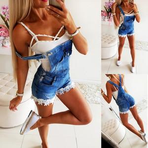2019 nouvelles femmes Slim Denim Salopette Jeans Pantalon dentelle brodée jeans bande décorative Jumpsuit Barboteuses Pantalons