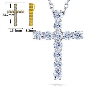 Transgems transversal en forma de plata de ley Moissanite 3mm Gh color brillante 1.1 Ctw Cruz colgante Necklacefor Mujeres J 190427