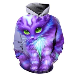 Cat Animali 3D All Over Stampa girocollo pullover con cappuccio Hipster Streetwear Jumper Donne Abbigliamento Uomo 2019