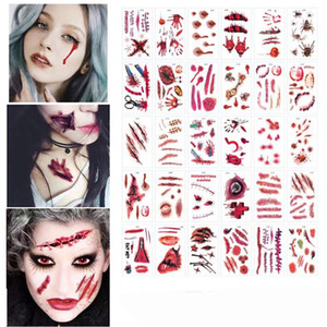 Halloween Tattoo Sticker Bloody Scar Sticker Temporary Tattoo Masquerade Prank Makeup Props Party Cosplay Costume Party Supplies JK1909