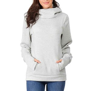 Pregnant Women Long Sleeve Warm Maternity Hoodie Winter Nursing Breast Feeding Pocket Dual Zipper Stylish Casual Shopping Daily