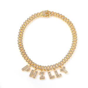 Hip Hop Custom Name Baguette Letter With Cuban Chain Men Women Micro Cubic Zircon Pendant Necklace Jewelry