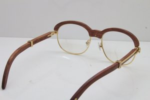 Toptan-Güneş Sıcak Altın Ağaç Gözlük 1116443 Gözlükler erkekler Oyma Ağaç Kesme Lens Gözlük kadınlar Şeffaf lens gözlük