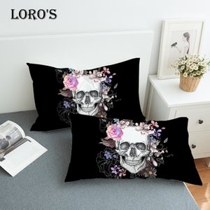 Chic Sugar Skull Floral Pillow Case White Couple Lovers Gift Pillow Throw Pillowcases Home Beddroom Two Pair Pillows Bedding Set