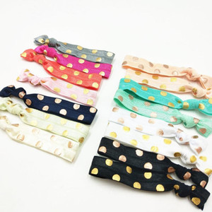 "15 Colors 40pcs lot 5 8"" Polka Dot Rose Gold Foil Fold Over Elastic Hair Band Hair Tie FOE Ribbon Bracelet Ponytail Holder"