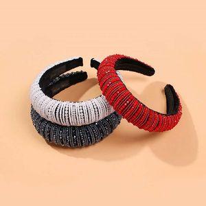 полные бриллианты ободки для женщин роскоши дизайнера барокко красных черного бриллианта оголовье ювелирных богемных марочных аксессуары для волос любви подарка