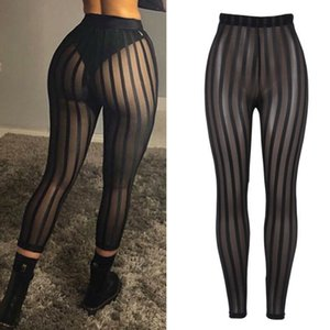 Hot Ladies Women Swimwear Mesh striped Cover-Ups Sexy Leggings Casual Perspective Pants Trousers Beachwear