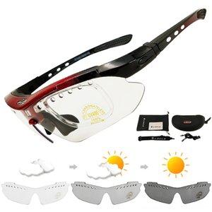 LOCLE Photochromic Klettersportbrillen Myopie Fahrrad-Reiten Eyewear UV400 Camping Männer Sun Radfahren Protektoren Radfahren Wandern Glasse