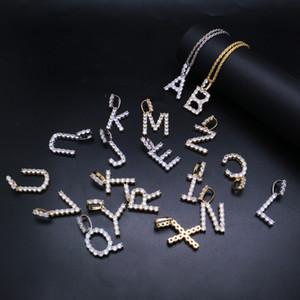 Hip-hop givré personnalisé Nom Lettre Pendentif Colliers Zircon Alphabet Charme pendentifs collier Bijoux Hiphop