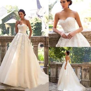 Милая с бисером Линейная поезд поезда шампанское свадебные платья романтические свадебные платья Milla Nova винтажные кружевные Vestido de Novia