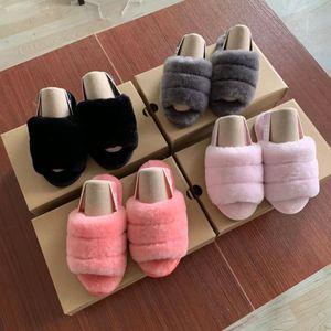 I bambini scivoli Fluff Sì ragazzino diapositive bambini pantofole delle ragazze dei pattini del sandalo pelliccia scorrere Slipper bambini Sandali Furry Pantofole Pantofola Kid Slides