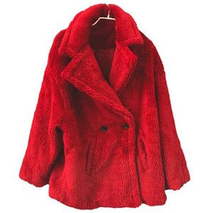 Hembra gruesa abrigos de piel cálidos invierno ruso mujer abrigo Faux piel de cordero diseñador europeo mujeres abrigos de piel de oveja Streetwear A072