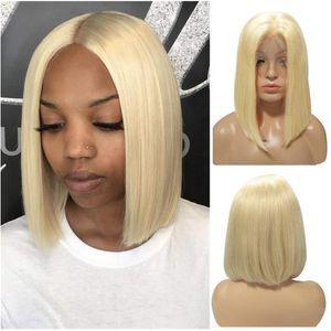 자연 스트레이트 (613) 밥 전체 레이스 가발 레이스 프런트가 인간의 머리 가발 100 % 처리되지 않은 브라질 말레이시아 페루 인도의 경우 블랙 여성