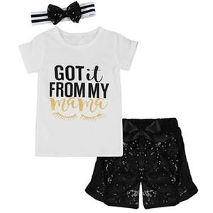حصلت البنات الصغيرات من مجموعات حروف Mama Letters الخاصة بـ Print T Shirt Sequins Shorts
