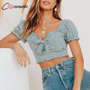 Conmoto 2019 Verão Sexy V Neck Praça Top Vintage curta gola Shirts Mulheres Ruffles Puff luva verde bowknot Cortar Tops T200108