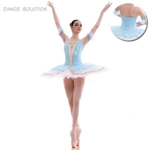 BLL015 Women Girl Stage Performance 투투 Pre-professional 댄스 의상 Ballet 투투와 스팽글 레이스 및 골드 트림