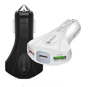2 порта USB автомобильное зарядное устройство Quick charge 3.0 Type-C Safety Emergency Hammer QC3. 0 Fast Car Charger Adapter