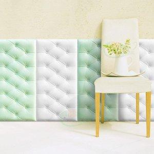 3D ثلاثي الأبعاد ملصقات الحائط ثخن حصير المضادة للتصادم ذاتية اللصق جدار حصيرة الأطفال سرير غرفة النوم وسادة لينة