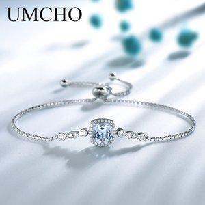 Gioielli Accessori UMCHO Bracciali Aquamarine Nano per Donna Solid 925 Sterling Silver Jewelry Gemstone Belle