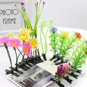 Nuevas plantas de simulación de novedad Lucky Grass Flower Pinzas para el cabello Headwear Small Bud Antena Bean Sprout Mushroom Party Hair Pin