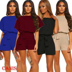 Frauen-Sommer-Flügel-Hülsen-Overall Bodycon Body Hosen Clubwear Damen feste Bandage Lässige Kleidung Playsuits