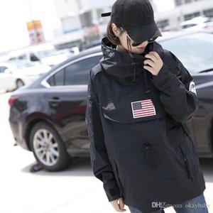 Мода Пары куртки Street Tide бренд American Flag Печать Тонкий Ветровка куртка Новый длинный рукав куртки