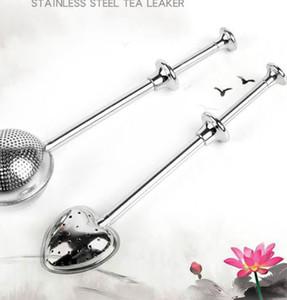 balle Boule à thé en acier inoxydable longue forme de coeur boule de filtre passoire à thé poignée thé Passoire KKA7999