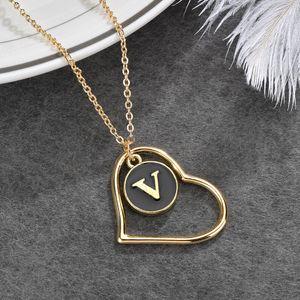 Popular hechos a mano regalo regalo joyería chapado en oro cadena de esmalte letra encanto collar oro corazón colgante collar