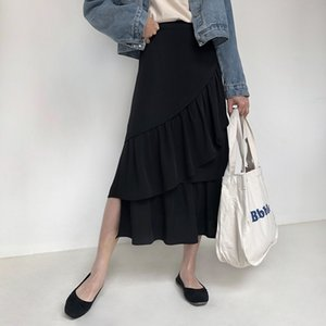 Vigorous Bud 2019 Season Chic Joker Cake Skirt Falda de medio cuerpo Cintura alta Fondo largo Mujer