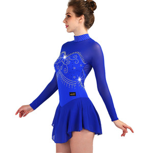 LIU HUO Figure Skating Dress Women's Girls' Ice Skating Dress performance clothing Rhinestone Competition Stretch fabrics Blue Full