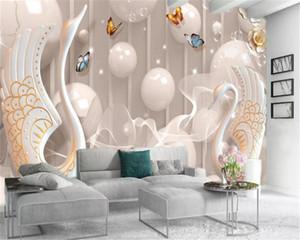 3D Wallpaper Camera Wallpaper White Ball farfalla di colore Bella Swan Lake coperta TV Sfondo decorazione della parete murale
