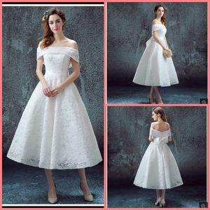 2019 Robe de soirée lace branco uma linha fora do ombro vestido de noiva chá comprimento curto informal petite meninas arco vestidos de casamento best selling