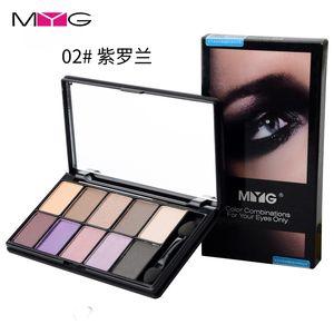 olhos MYG compõem Naked Eye Sombra Palette Nude Smoky Glitter Matte sombra 10colors sombra do olho com vara
