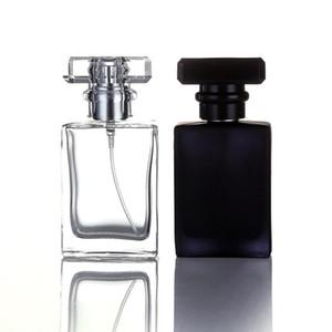 30ML negro claro portátiles Botellas del aerosol de perfume de cristal vacío contenedores de estética Con atomizador para viajeros de DHL