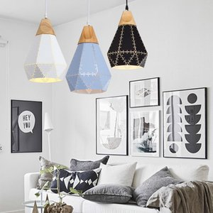 Modern restaurant pendant lighting single head creative personality macaron solid wood wrought iron carving bar bedside chandelier Le-10