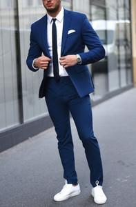 Modische blaue Bräutigam Smoking, hübsche Slim Fit Männer Hochzeit Groomsmen Business Party Prom Anzüge (Jacke + Hose + Tie) NO: 1118