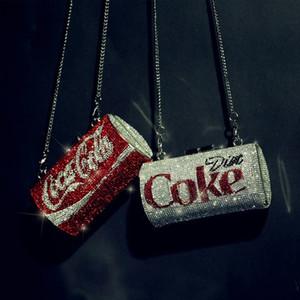 Latas creativas diamantes bolsas de las mujeres de hombro del diseñador Cola puede dar forma a cadenas femeninas Crossbody Bolsa elegante señoras de noche bolso de embrague T200113