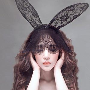 Orejas 1PC nuevo de las mujeres del cordón del velo de pelo Bandas Chicas Sexy Negro Máscara Disfraces Accesorios para el cabello Hollywood Party Band