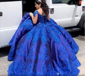 Royal Blue Satin Charro Quinceanera Abiti Bupcake Ball Gowns Prom 2021 Off The Shoulder Pizzo Crystal Mexican Sweet 16 Dress Vestidos de
