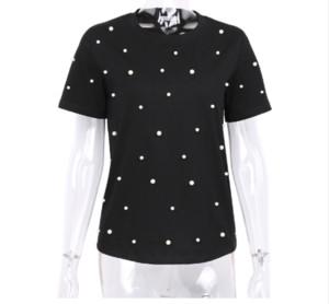 2019 Sommer Perlen Perlen T-Shirt Frauen Baumwolle Lose Beiläufige Schwarze Tops Frauen Kurzarm O-Neck T-shirt Hohe Qualität