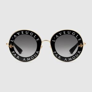 0113 nuevo de la manera del marco de la marca caliente Gafas de Sol Gafas de sol para mujer negras del escudo del metal oro de las gafas el Ciego Par Amour Negro Oro