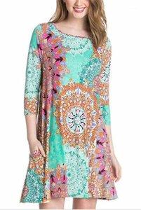Elbiseler Flora Baskılı Üç Çeyrek Sleeve Bayan Elbise Casual Bayan Giyim Yeni Geliş Milli Tasarımcı Kadınlar