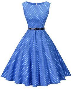 I2CRAZY Womens Boatneck Kolsuz Vintage Kemer ile 1950 s Retro Rockabilly Balo Elbise