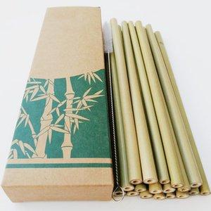 Utile 12 pcs / set bambou 20 * 0.7cm pailles réutilisables buvant de gros cuisine écologique cuisine + pinceau pour la fête de transport propre PNIHP